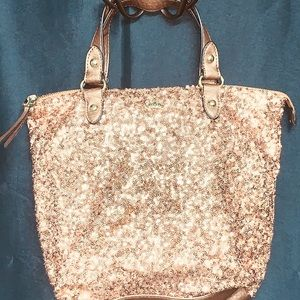 Juicy Couture Rose gold small sequins hand bag.